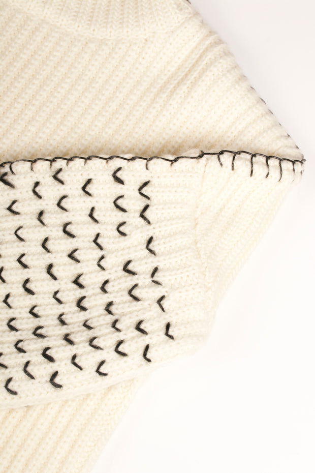 Tanya Taylor Alice Knit Sweater in Cream Knit - Detail
