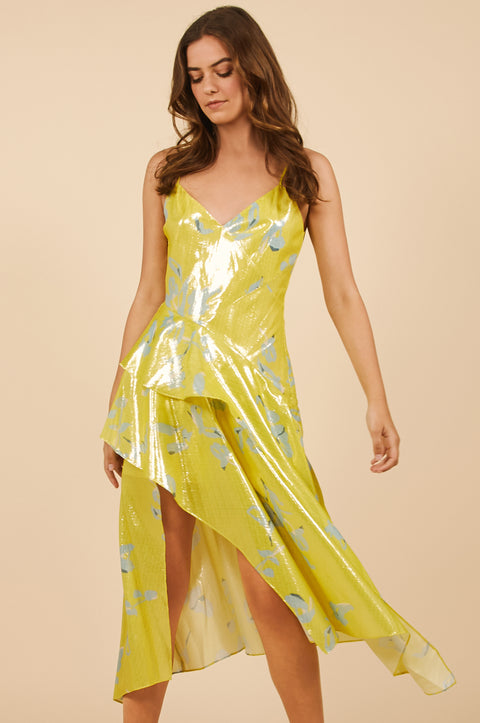 Tanya Taylor Yellow Metallic Dress - Front View