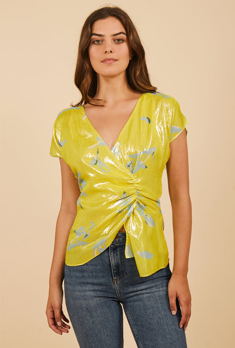 Tanya Taylor Bella Top in Yellow Metallic Degrade, Front View