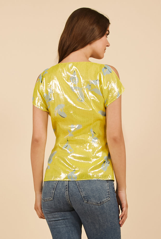 Tanya Taylor Bella Top in Yellow Metallic Degrade, Back View