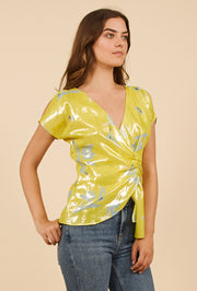 Tanya Taylor Bella Top in Yellow Metallic Degrade, Side View