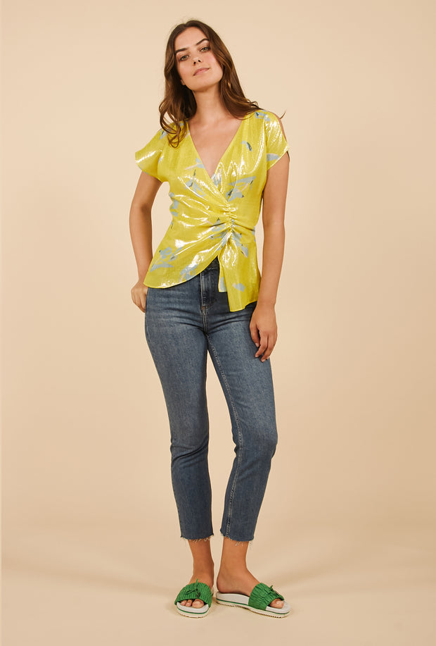 Tanya Taylor Bella Top in Yellow Metallic Degrade, Full View