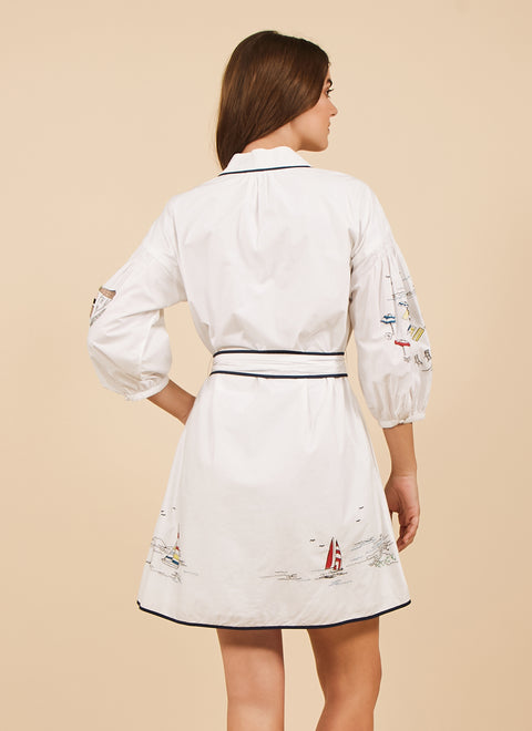 Tanya Taylor Briana Dress in White Embroidery, Back View