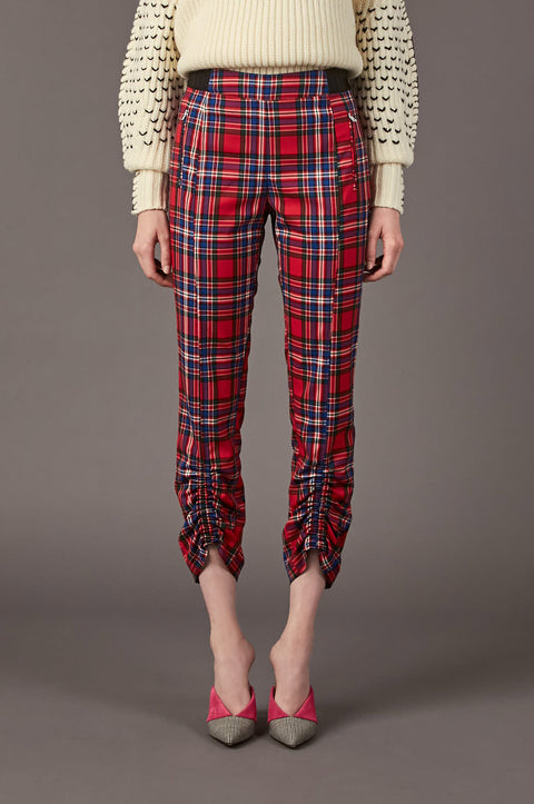Tanya Taylor Carrington Pant in Red Plaid - Front View