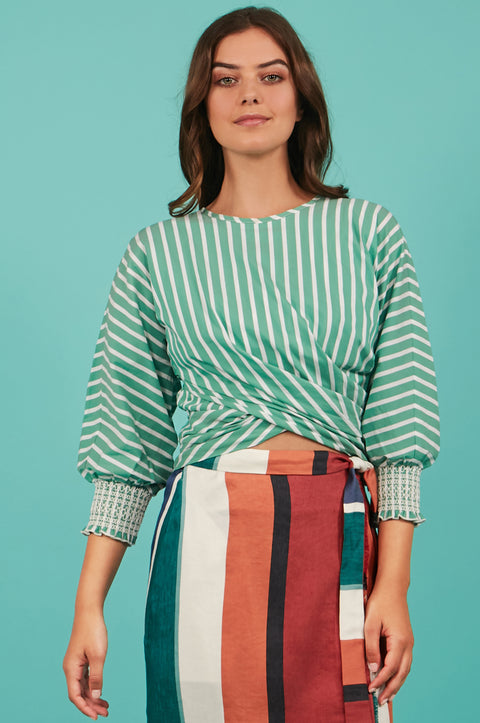 Tanya Taylor Green Striped Chioma Top - Front View