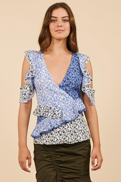 Tanya Taylor Blue Floral Daniele Top - Front View