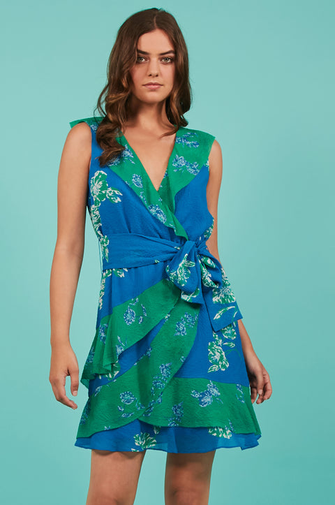 Tanya Taylor Elisa Dress Green and Blue Floral - Front View