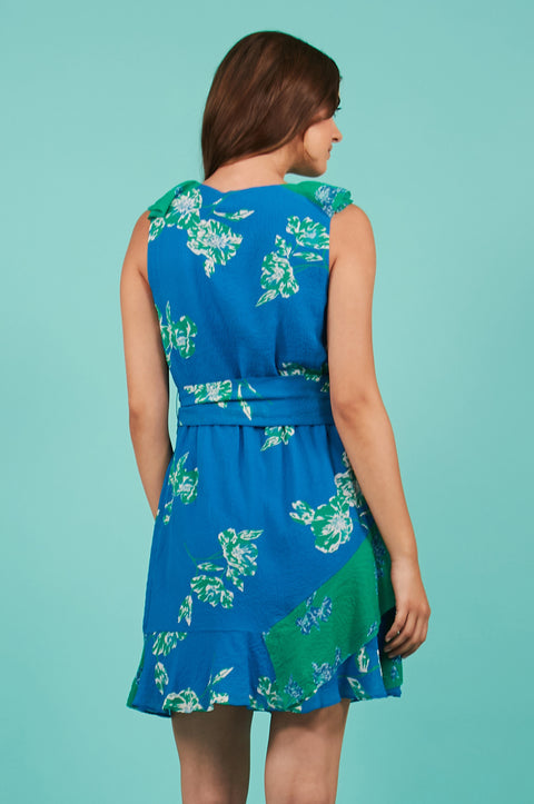 Tanya Taylor Elisa Dress Green and Blue Floral - Back View