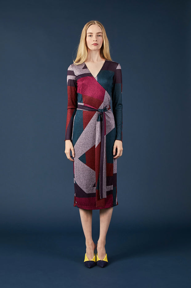 Tanya Taylor Colorblock Wrap Dress - Front View