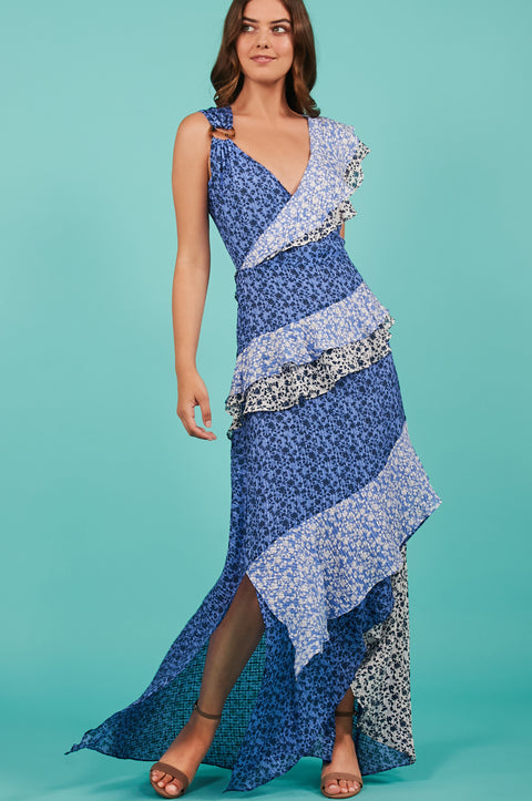 Tanya Taylor Gael Dress in Blue Floral - Front View