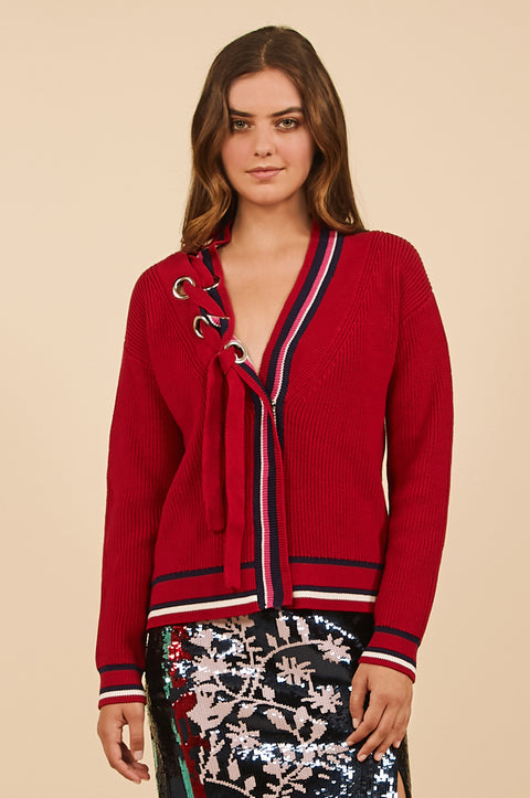 Tanya Taylor Red Greta Sweater in Nautical Knit - Front View