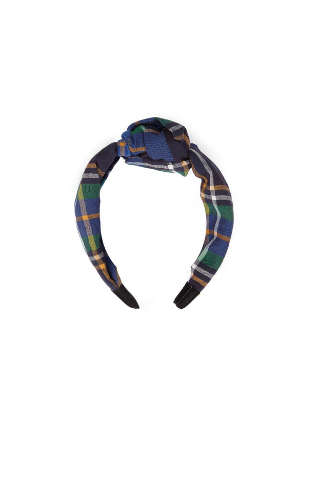 Tanya Taylor Navy Plaid Headband