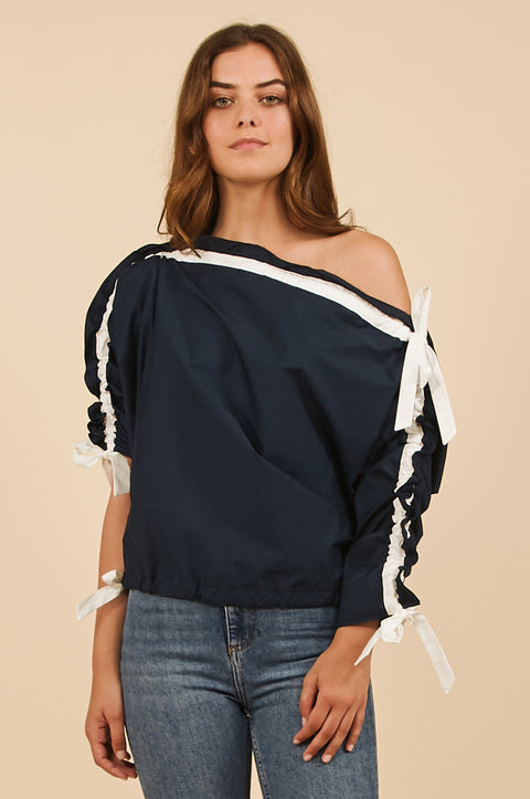 Tanya Taylor Illaria Top in Navy Poplin - Front View