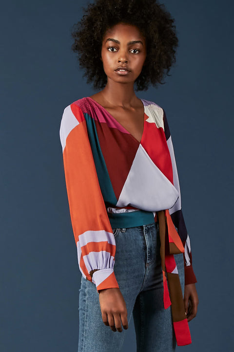 Tanya Taylor Klara Colorblock Blouse - Zoom View