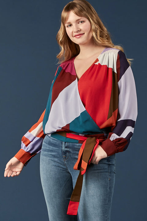 Tanya Taylor Klara Colorblock Blouse in Plus Size, Front View