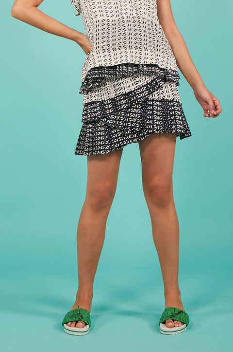 Tanya Taylor Piero Skirt in White and Navy Ikat - Front View