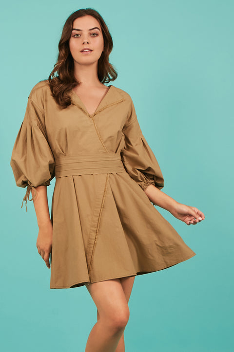 Tanya Taylor Bell Sleeve Khaki Dress - Front