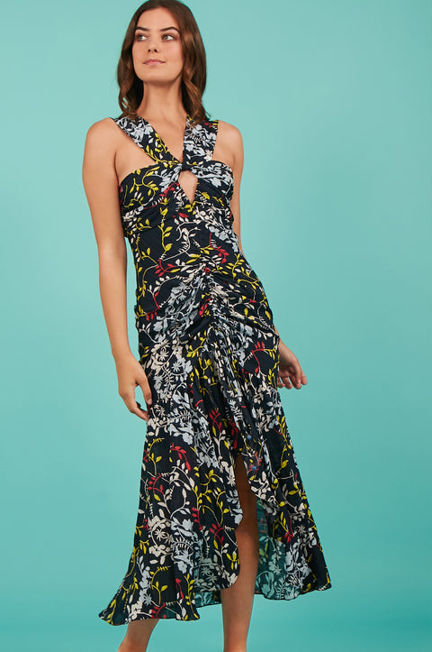 Tanya Taylor Sancia Floral Midi Dress in Navy Floral - Front View