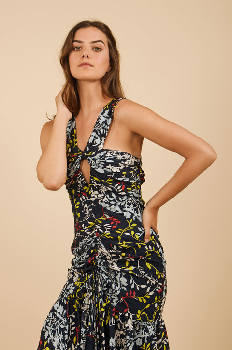 Tanya Taylor Sancia Floral Midi Dress in Navy Floral - Zoom View