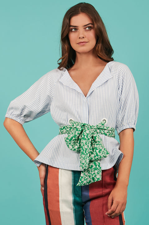 Tanya Taylor Belted Suma Top in Blue Stripe - Front View