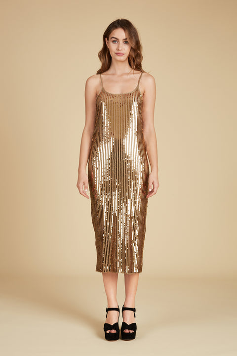 Tanya Taylor Venus Dress in Gold Sequin - Front View
