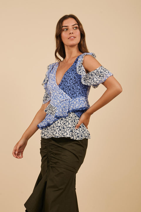 Tanya Taylor Blue Floral Daniele Top - Side View