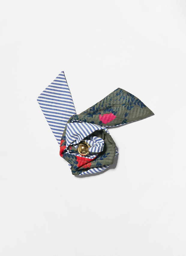 Tanya Taylor Kelly Scarf - Army Floral and Stripe
