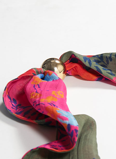 Tanya Taylor Kelly Scarf - Army Floral and Pink Floral