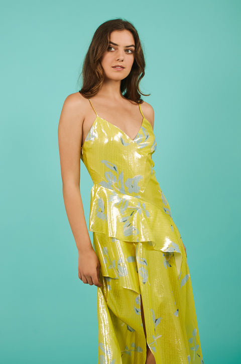 Tanya Taylor Analia Yellow Metallic Dress - Front View