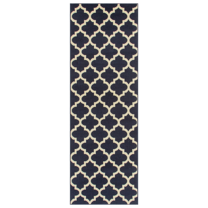 Modern Quatrefoil Indoor Area Rug, Trellis Pattern, Contemporary