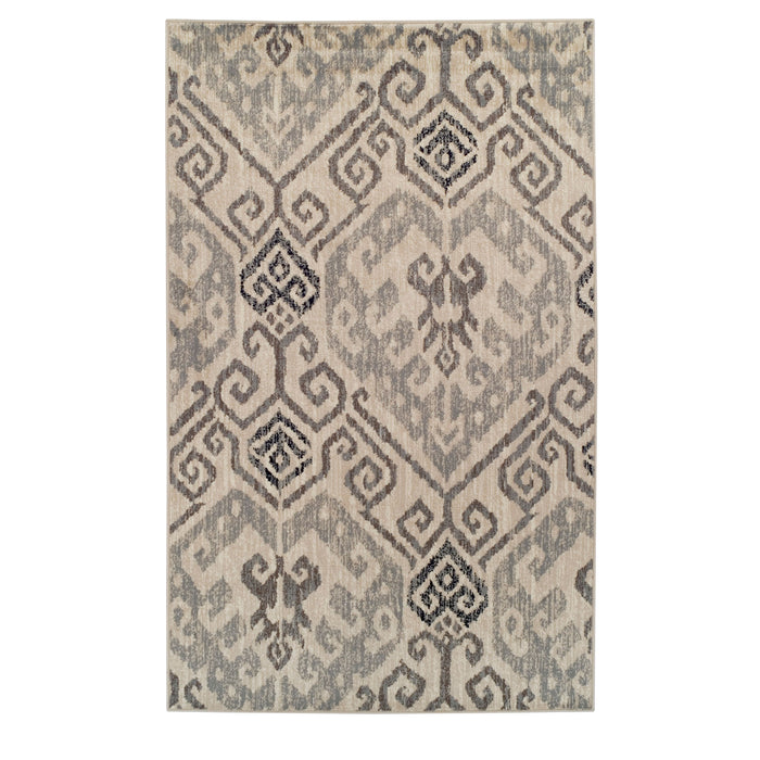 Damask Area Rug, Aztec Motifs, Traditional, Contemporary