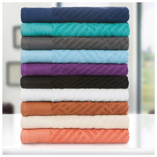 Swanton Egyptian Cotton Towel Set, 500 GSM, Jacquard and Solid Combo, 6-Pieces