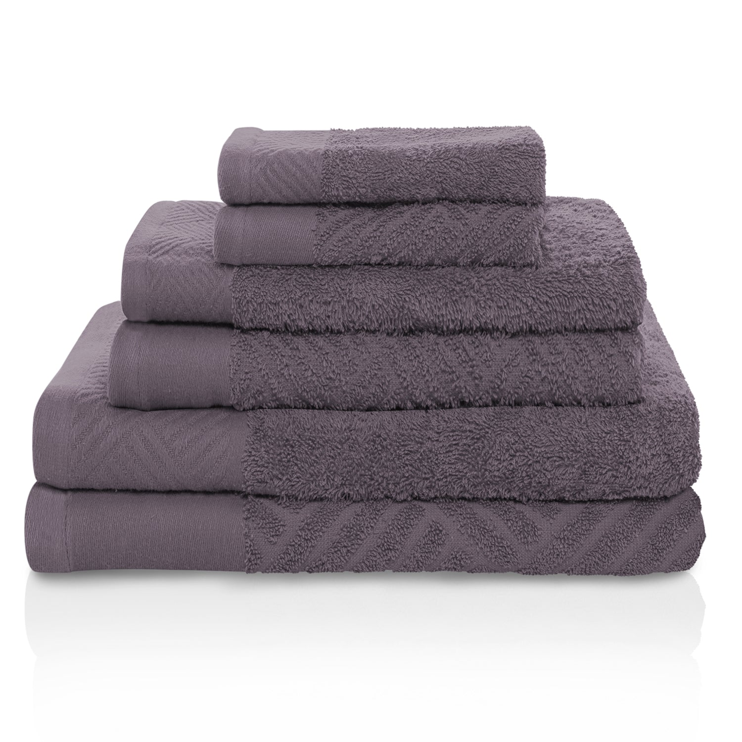 100% Egyptian Cotton 6 PC Basket Weave- Jacquard And Solid Towel Set