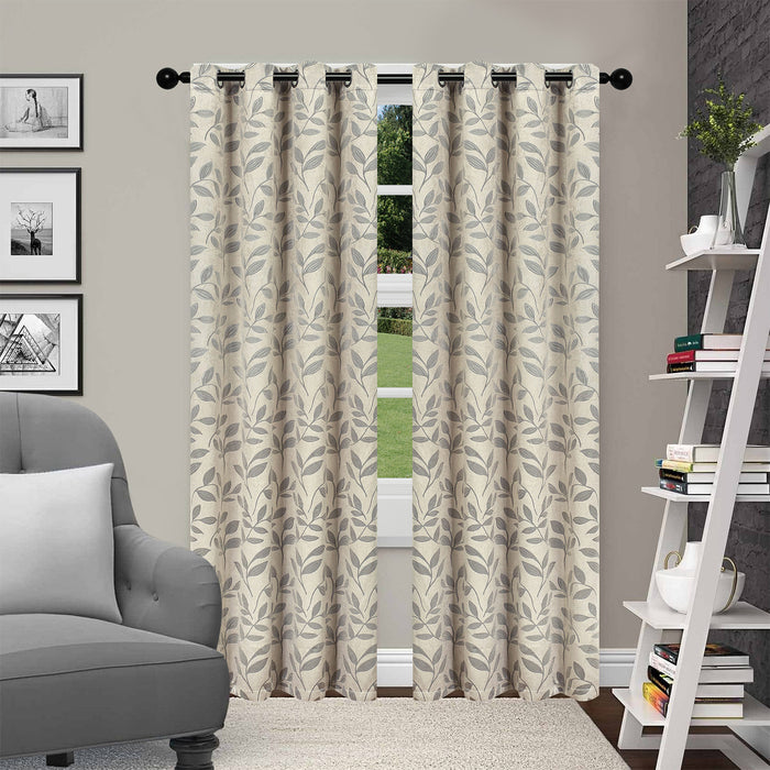LEAVES BLACKOUT 2 PANEL CURTAINS