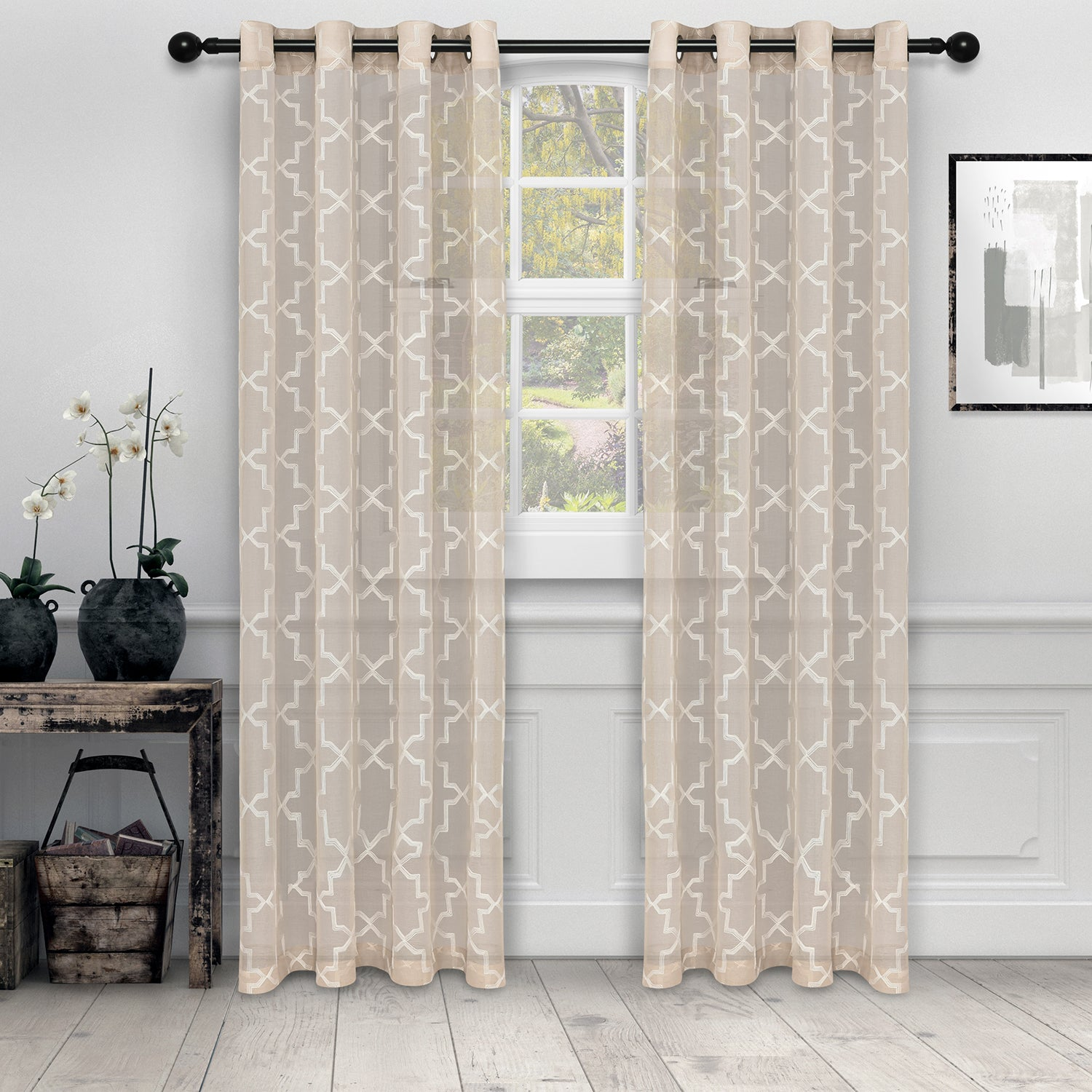 Superior Semi-Sheer Embroidered Quatrefoil Curtain Panels