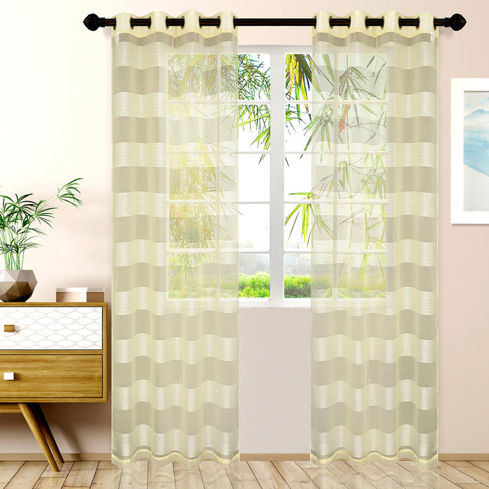 Superior Dalisto Rope Textured Sheer Curtain Set of 2 with Grommet Top Header