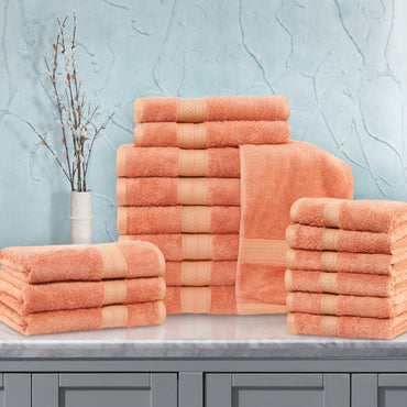 18-Piece Towel Set, Soft Rayon From Bamboo, 10 Colors
