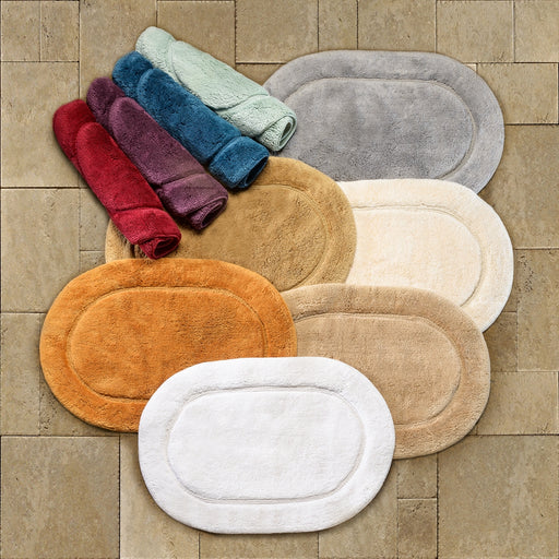 Non-Slip Cotton Oval 2-Piece Bath Rug Set