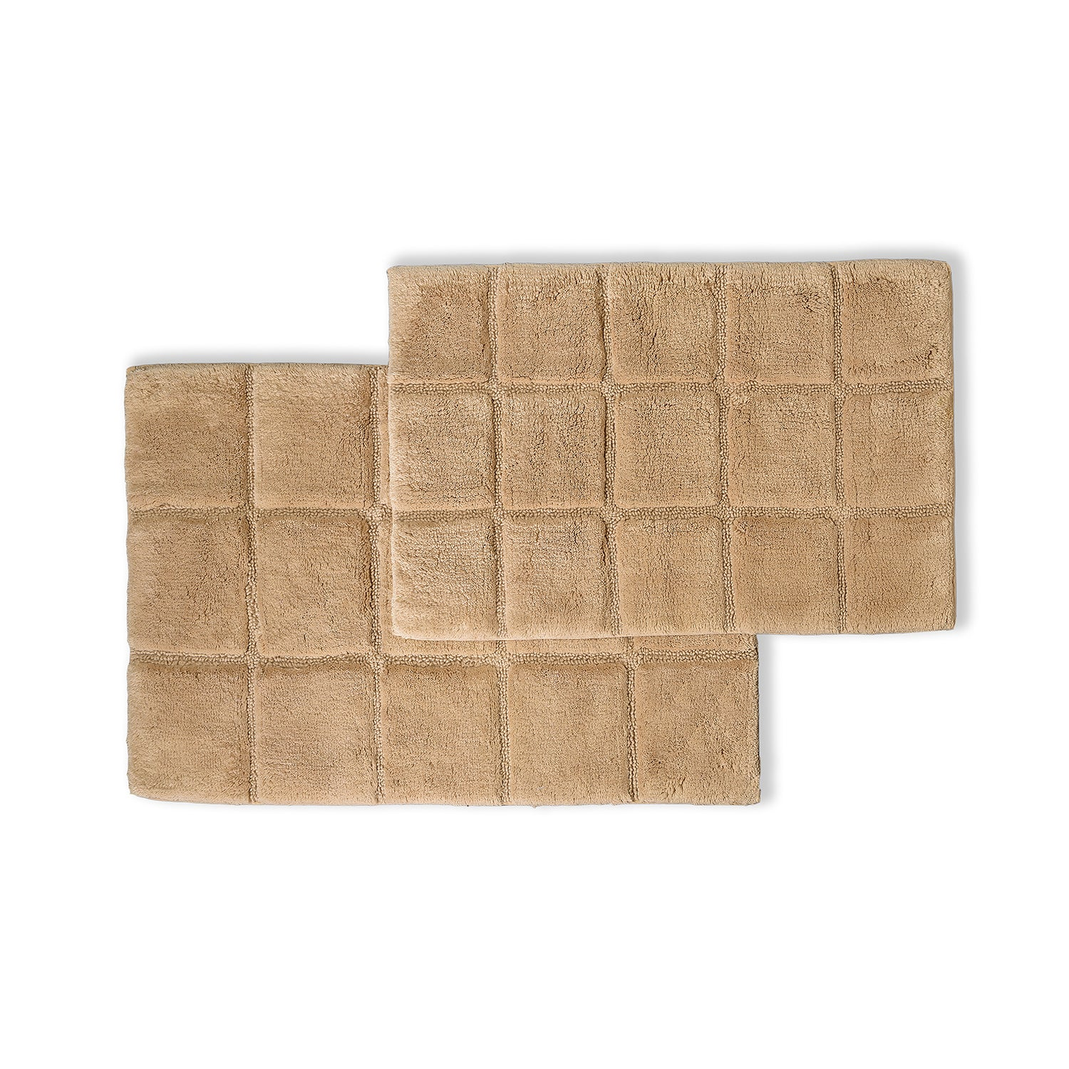Checkered Non Slip Cotton Bath Rugs For Bathroom Set of 2, 10 Colors