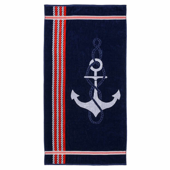 Anchor Bay Nautical 100% Combed Cotton Oversized Beach Towel, Red