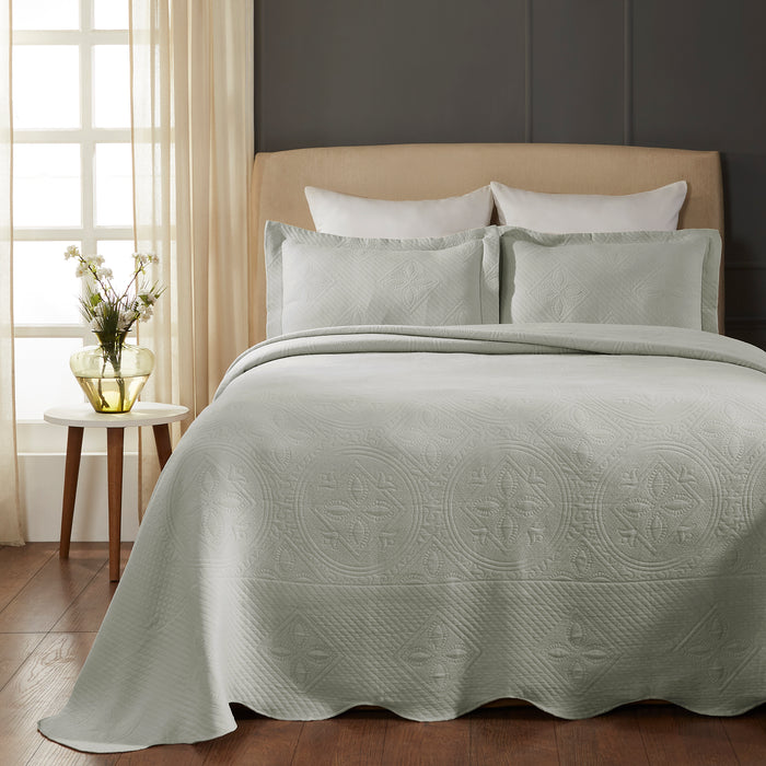 100% Cotton Celtic Circle Scalloped Bedspread Set