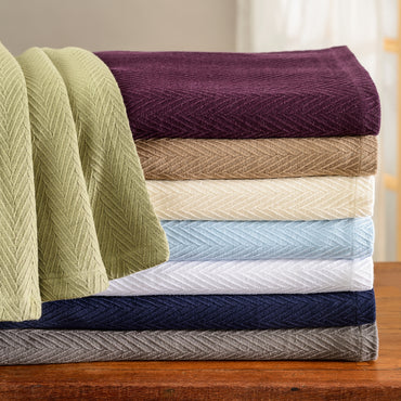 Metro Soft Cotton Throw Blanket, Comfy For All Season, 8 Colors