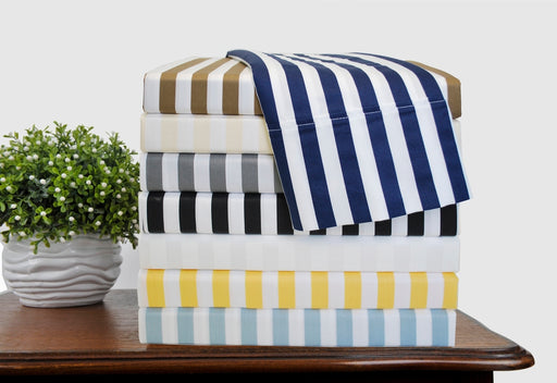 Nottingham 600-Thread Count Cabana Stripes Cotton-Rich Duvet Cover Set