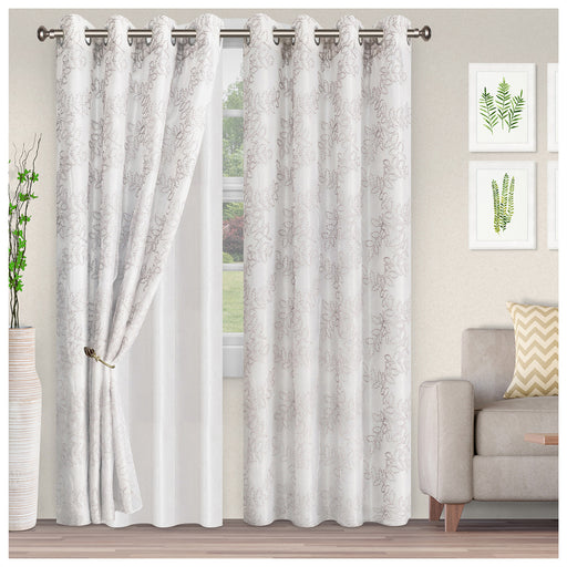 Longfellow Embroidered Leaves  Diffused Light Airy Lightweight Semi-Sheer Curtain Set
