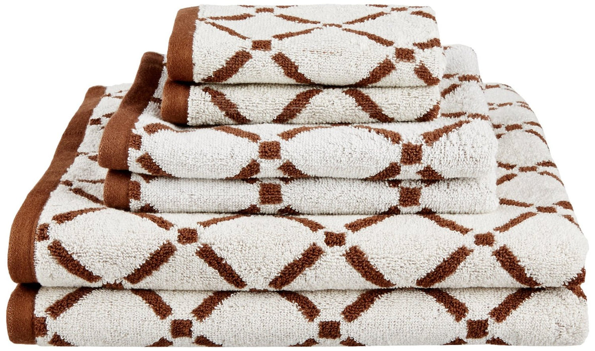 Lumina 100% Combed Cotton Towel Set, 550 GSM, Diamond Design, 6-Pieces