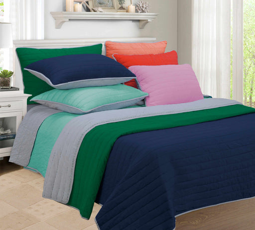 Striped Brandon Fine Stitched 100% Long-Staple Cotton Quilt Set, 6 Colors