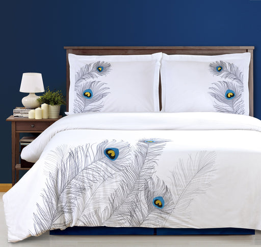 Decorative Embroidered Peacock Feather Duvet Set