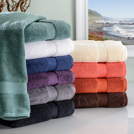 2-Piece Bath Towel Set, Absorbent Zero twist Cotton, 10 Colors - Blue Nile Mills