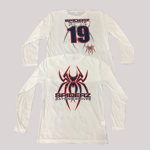 Spiderz Custom BP Long Sleeve Jersey- Navy/Red