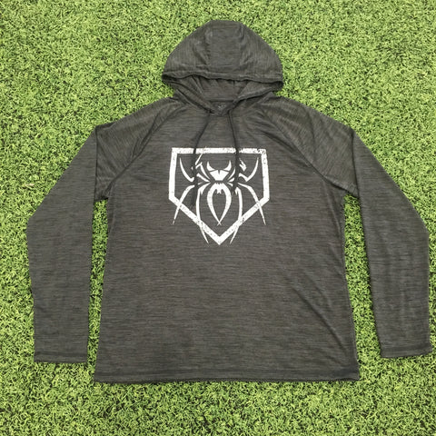 Spiderz Light Weight Performance Hoody - Black Heather/Silver